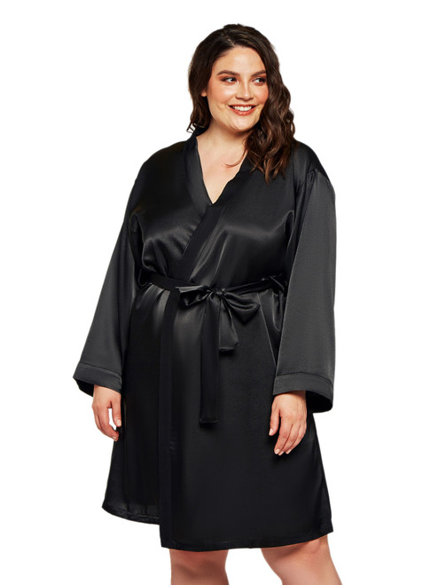 Plus Size Women Long Sleeve Black Satin Robe Sleepwear