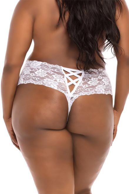 Plus Size Women Plus Size Bridal White Lace Boyshort Underwear Back View