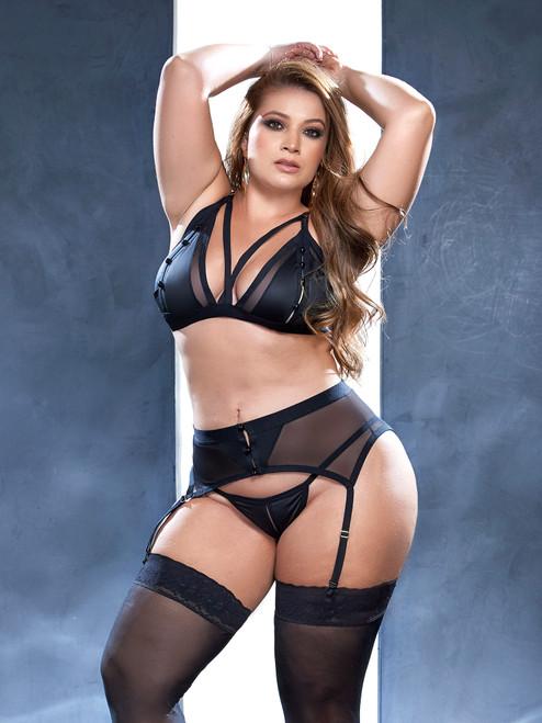 Plus Size Women Temptation Faux Leather Split Cup Black Bra Set Lingerie Front View
