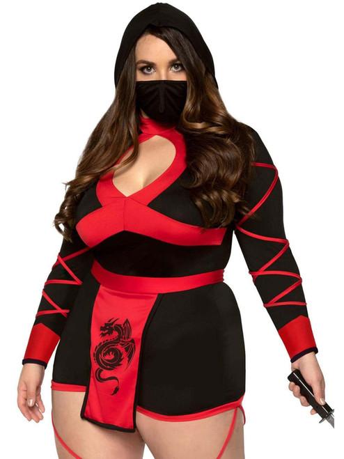 Plus Size Leg Avenue Womens Black Dragon Ninja Romper Costume Front View