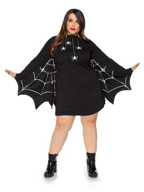 Plus Size Leg Avenue Womens Black Spider T-Shirt Costume Dress Front View
