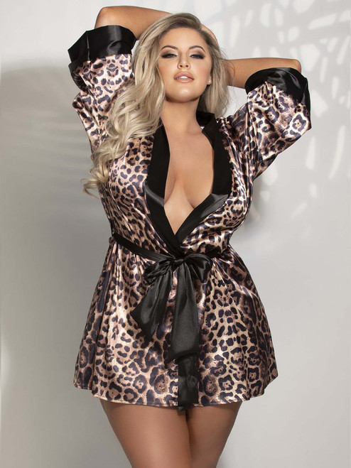 Plus Size Women Leopard Print Satin Robe Sleepwear Front View