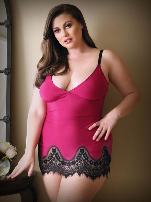Womens Plus Size Trimmed Lace Chemise Slip Intimates Front View