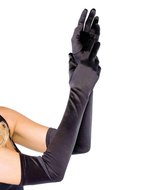 Leg Avenue Extra Long Black Opera Length Satin Gloves