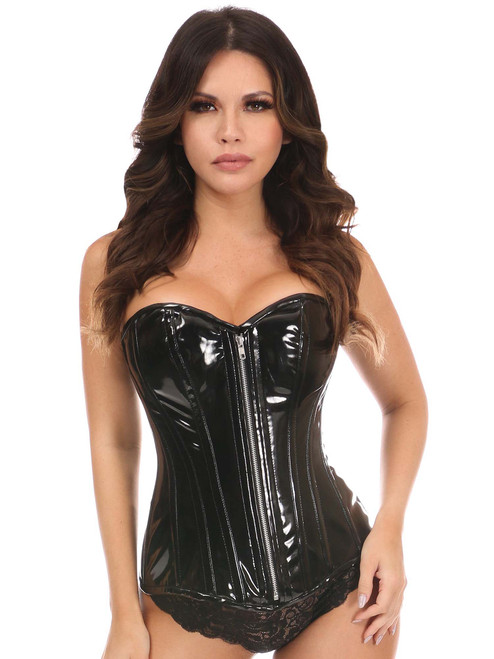 Daisy Corsets Top Drawer Black Patent PVC Steel Boned Over Bust Corset Front View