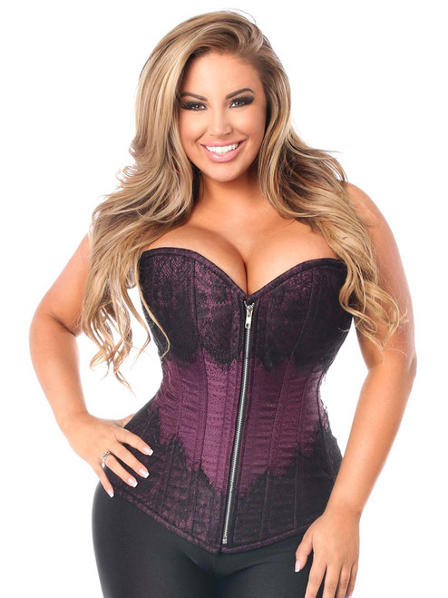 Plus Size Daisy Corsets Top Drawer Plum Brocade Steel Boned Corset Front View