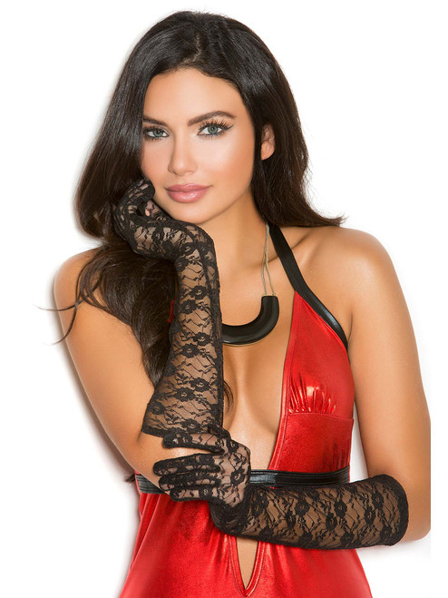 Black Elbow Length Lace Gloves Accessories