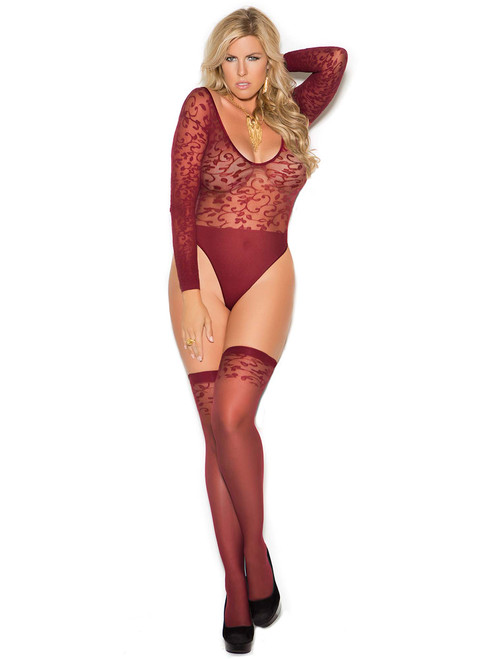 Plus Size Sheer Burnout Teddy and Stockings Lingerie Set Front View