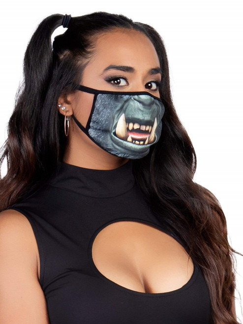 Reusable Unisex Monster Horde Orc Face Mask Side View