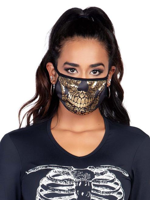 Reusable Unisex Gold Foil Skull Print Face Mask Front View