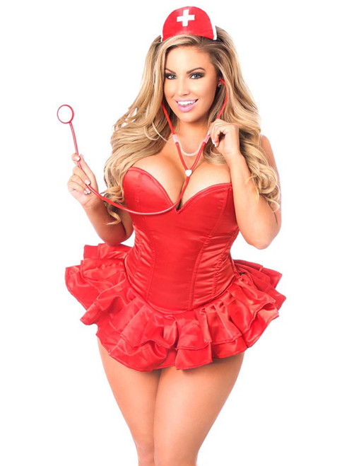 Plus Size Daisy Corsets Womens Sweetheart Nurse Dress Cosplay Corset Costume Front View