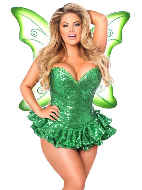 Plus Size Daisy Corsets Womens Green Sequin Fairy Steel Boned Corset Costume Front View