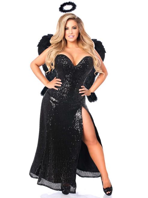 Plus Size Daisy Corsets Women Dark Angel Steel Boned Corset Costume Dress Front View