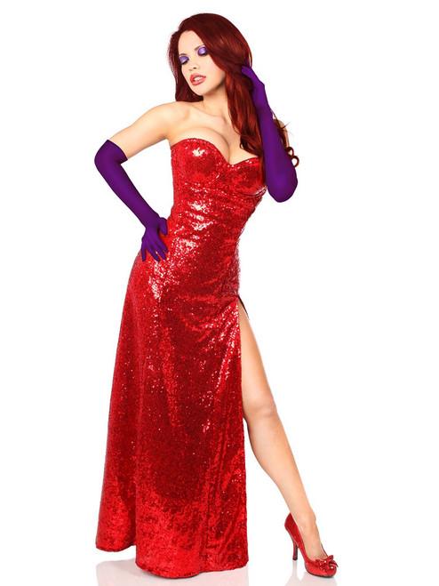 Daisy Corsets Womens Miss Rabbit Steel Boned Corset Dress Costume Front View