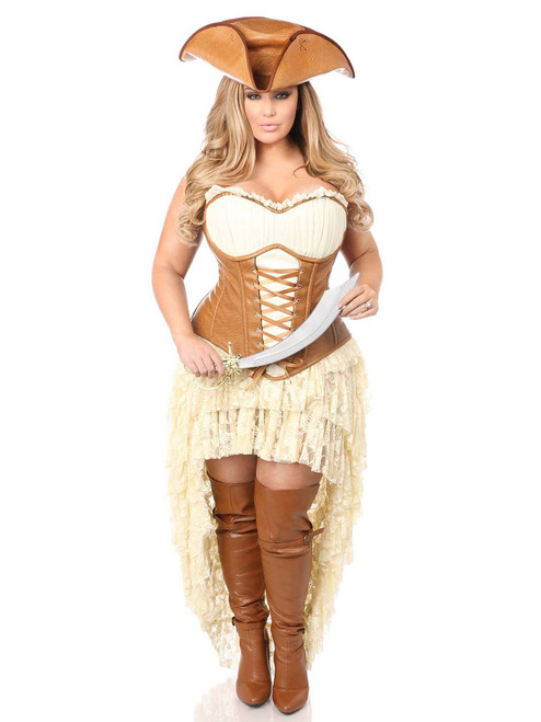 Plus Size Daisy Corsets Womens Pirate Steel Boned Corset Costume Front View