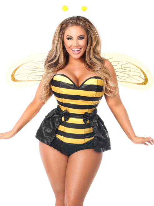 Plus Size Daisy Corsets Womens Queen Bee Steel Boned Corset Costume Front View