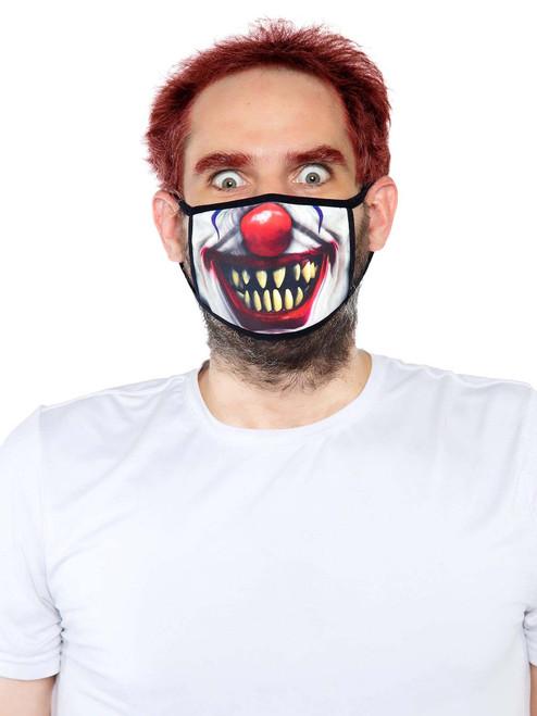 Unisex Reusable Creepy Clown Face Mask front View