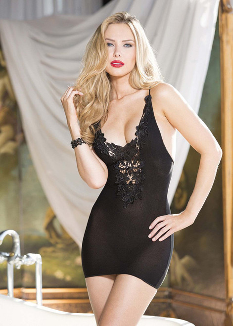 Curvy Deep V Stretch Knit Chemise Lingerie Front View