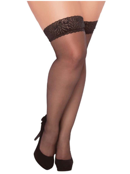 Plus Size Full Figure Sheer Black Lace Top Thigh High Stockings