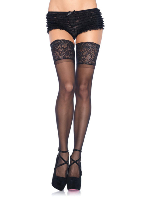 Full Figure Plus Size Black Spandex Sheer Thigh Highs Stockings