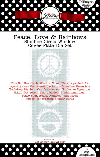 Peace, Love & Rainbows Slimline Circle Window Cover Plate Die Set