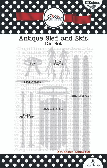 Antique Sled and Skis Die Set