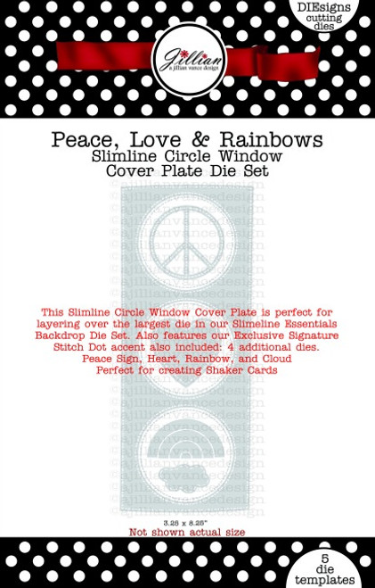 Peace, Love & Rainbows Slimline Circle Window Cover Plate Die Set