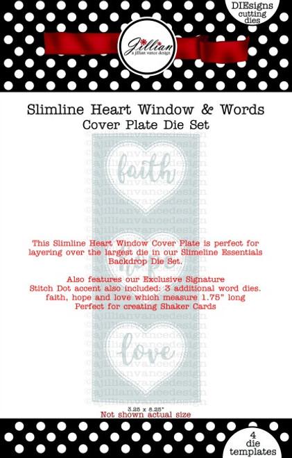 Slimline Heart Window & Words Cover Plate Die Set