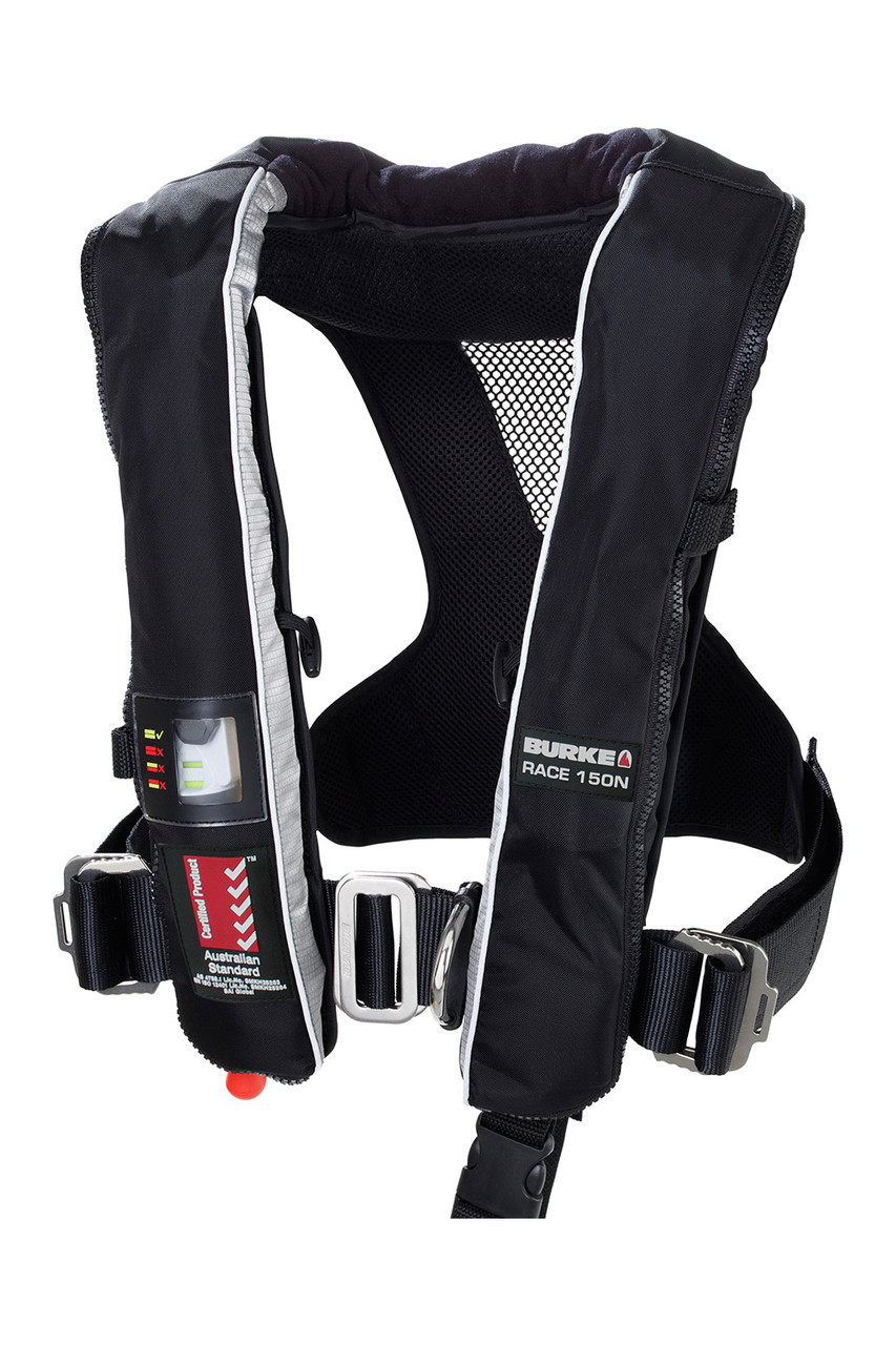 Burke Race Manual Inflatable Pfd With Harness Life Jacket For Sailboat