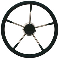 350mm Stainless Steel Soft Grip Steering Wheel (Black)