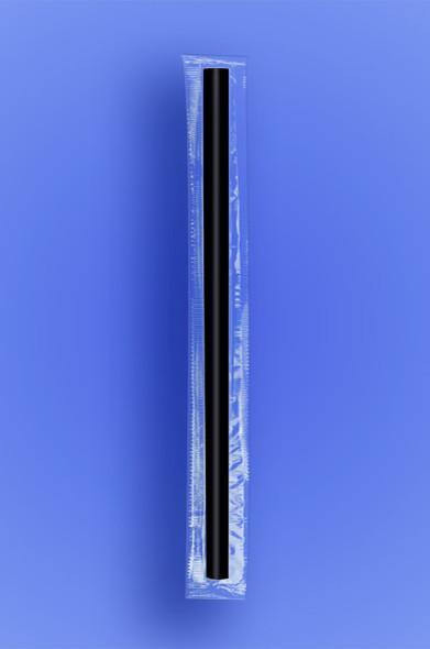 "GIANT STRAW 7.75"" - CELO WRAPPED - BLACK - 24/350 (8,400/case)"