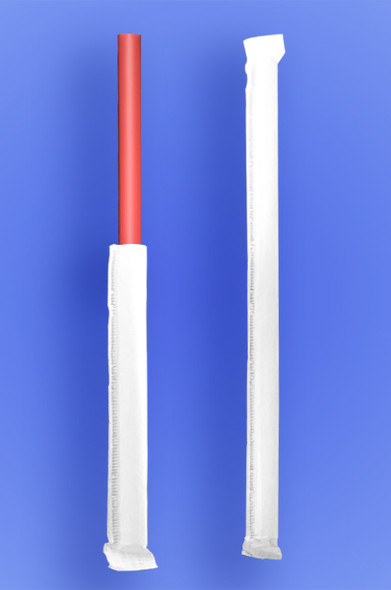 """GIANT STRAW 7.75"""" - PAPER WRAPPED - RED - 24/350 (8,400/case)"""