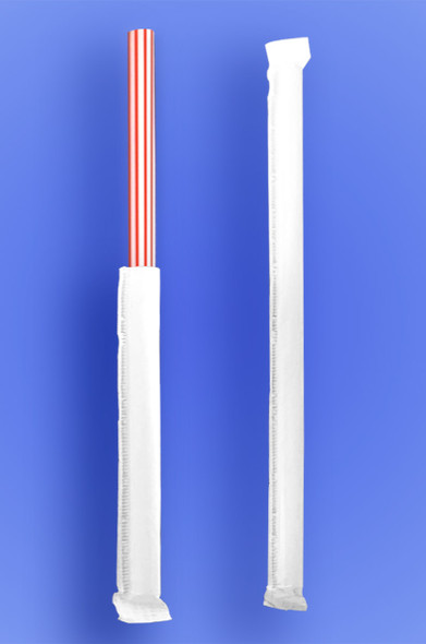 """GIANT STRAW 7.75"""" - PAPER WRAPPED - RED STRIPES - 24/350 (8,400/case)"""
