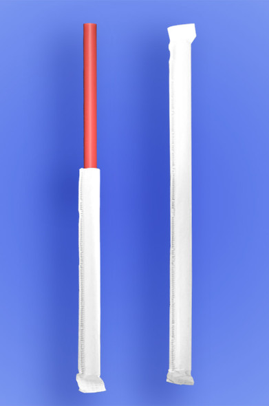 """JUMBO STRAW 10.25"""" - PAPER WRAPPED - RED - 4/500 (2,000/case)"""