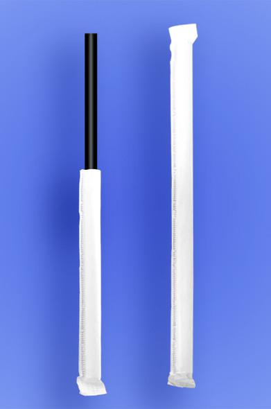 "JUMBO STRAW 10.25"" - PAPER WRAPPED - BLACK - 4/500 (2,000/case)"