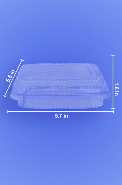 "HINGED LID DELI CONTAINER - STANDARD 6"" x 7"" x 2.25"" RECTANGULAR - 500/CASE"