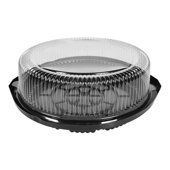 "10"" CAKE CONTAINER - CIRCULAR 13"" BLACK - DEEP BASE - 4.5"" TALL - 50/CASE"