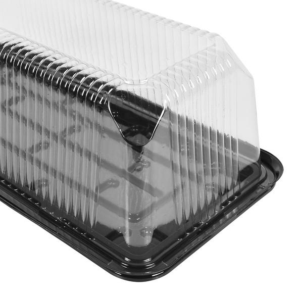 "LOG CAKE/DELI CONTAINER - 14""x7"" LONG RECTANGULAR BLACK BASE - 4.75"" TALL - 50/CASE"