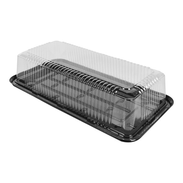 "LOG CAKE/DELI CONTAINER - 14""x7"" LONG RECTANGULAR BLACK BASE - 3.50"" TALL - 50/CASE"