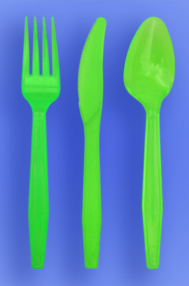 MEDIUM WEIGHT SPOON, FORK, KNIFE - NEON GREEN - 3/1000 (3,000/case)