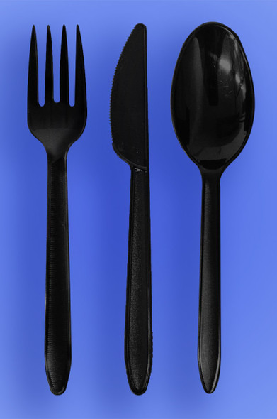 HEAVY WEIGHT SPOON, FORK, KNIFE - BLACK - 3/1000 (3,000/case)
