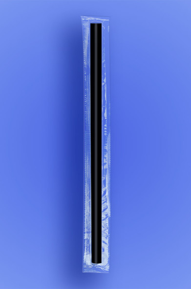 "GIANT STRAW 10.25""  - CELO WRAPPED - BLACK - 4/350 (1,400/case)"