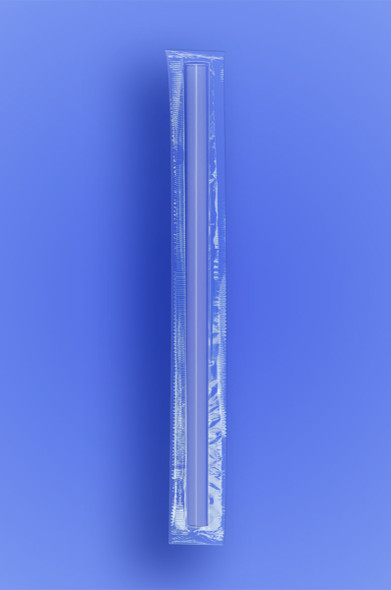 """GIANT STRAW 7.75"""" - CELO WRAPPED - CLEAR - 24/350 (8,400/case)"""