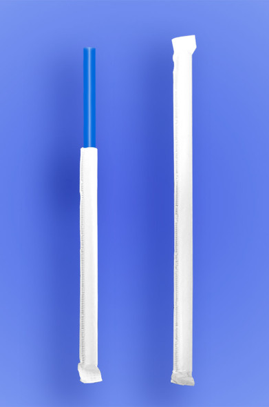 "GIANT STRAW 9"" - PAPER WRAPPED - BLUE - 4/350 (1,400/case)"