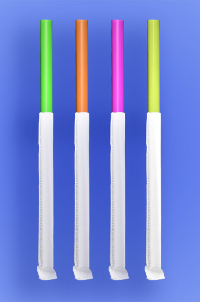 """GIANT STRAW 10.25""""  - PAPER WRAPPED - NEON - 4/350 (1,400/case)"""