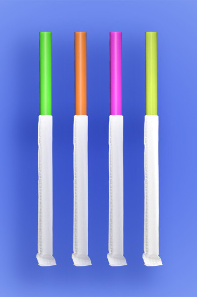 """GIANT STRAW 7.75""""  - PAPER WRAPPED - NEON - 24/350 (8,400/case)"""