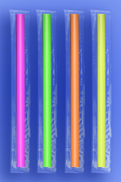 "JUMBO STRAW 10.25""  - CELO WRAPPED - NEON - 4/500 (2,000/case)"