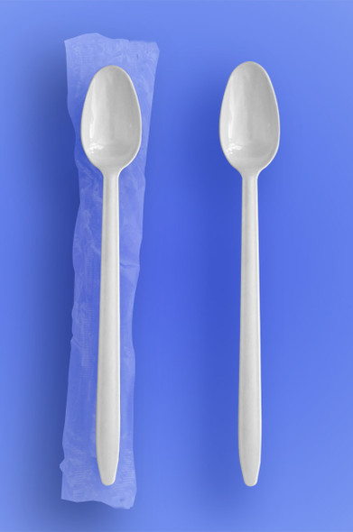 """Wrapped 8"""" Long White Soda Spoons"""