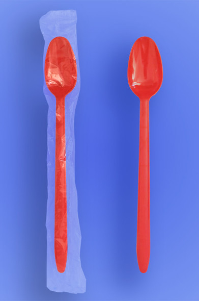 """Wrapped 8"""" Long Red Soda Spoons"""