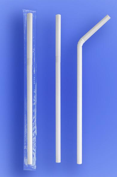 """SUPER JUMBO FLEXI STRAW 7.75"""" - CELO WRAPPED - WHITE - (2,000/case)"""